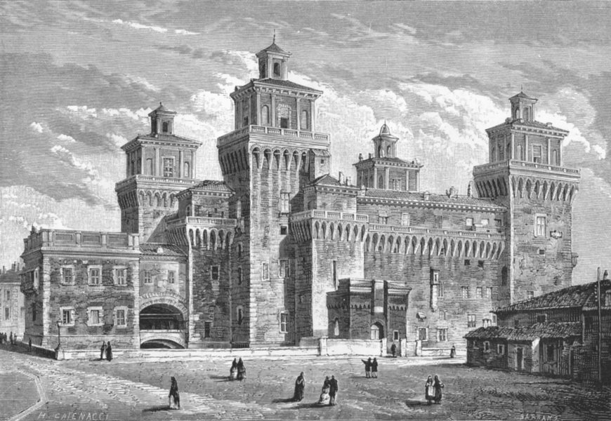 Associate Product ITALY. Palace at Ferrara c1885 old antique vintage print picture