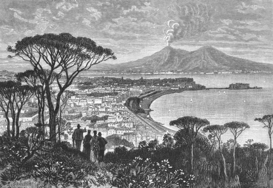 Associate Product ITALY. Naples c1885 old antique vintage print picture