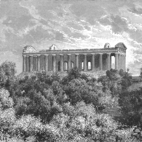 Associate Product ITALY. Temple of Concord at Girgenti c1885 old antique vintage print picture