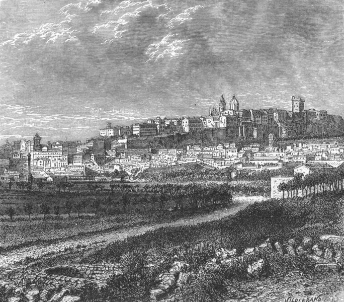 Associate Product ITALY. Cagliari, from pass of Boneria c1885 old antique vintage print picture