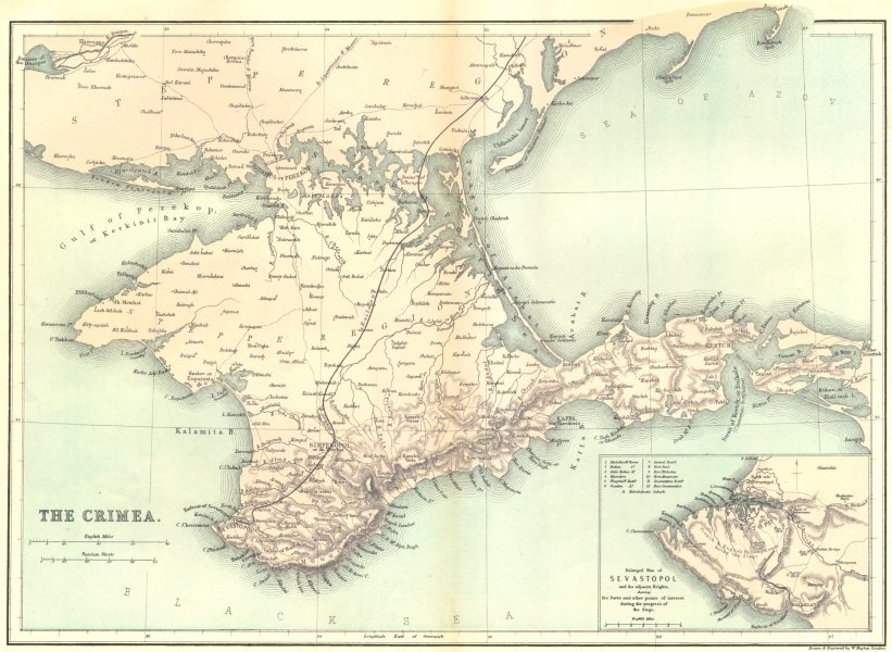 Associate Product UKRAINE. Crimea c1885 old antique vintage map plan chart
