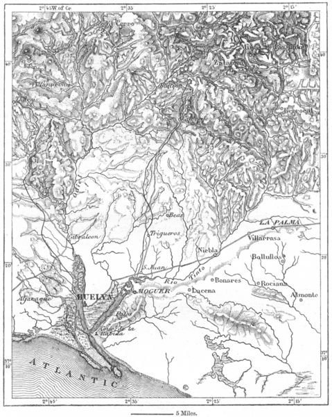 Associate Product SPAIN. Mines of Huelva, sketch map c1885 old antique vintage plan chart