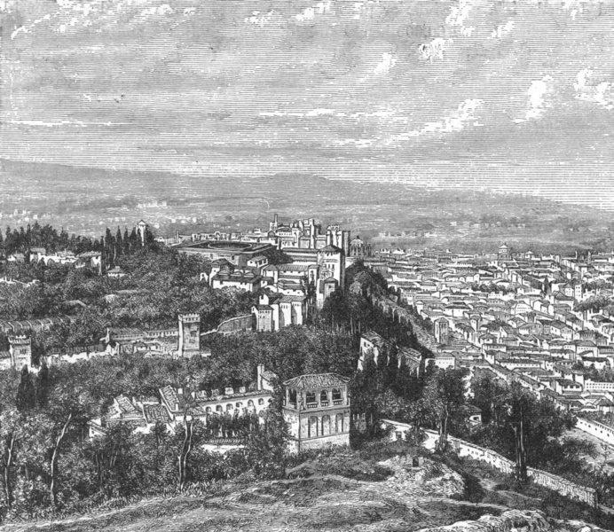 Associate Product SPAIN. Alhambra c1885 old antique vintage print picture