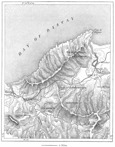 Associate Product SPAIN. Jaizquibel, sketch map c1885 old antique vintage plan chart