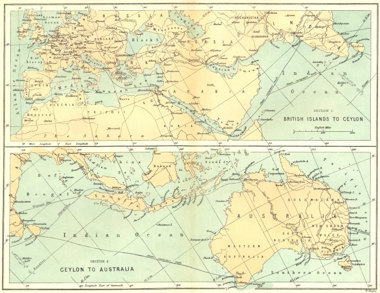 Associate Product AUSTRALIA. Overland route from UK c1885 old antique vintage map plan chart