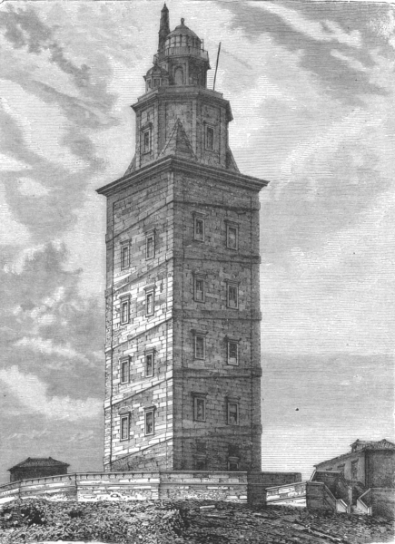 SPAIN. Tower of Hercules(Lighthouse) c1885 old antique vintage print picture