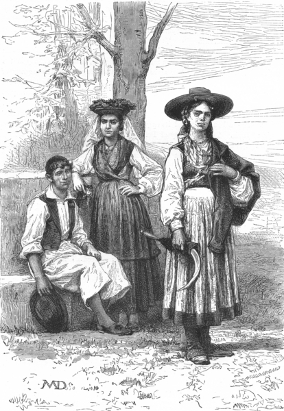 PORTUGAL. Peasant of Ovar; Woman Leca; Affife c1885 old antique print picture