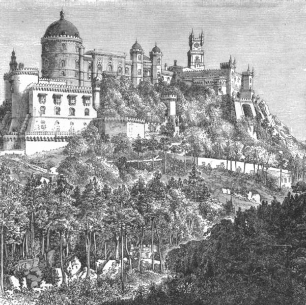 Associate Product PORTUGAL. Castle de Penha Sintra c1885 old antique vintage print picture