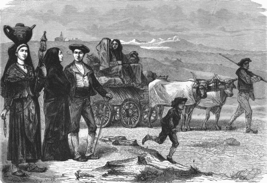 HAUTES-PYRÉNÉES. Peasants Valley of Ossun c1885 old antique print picture