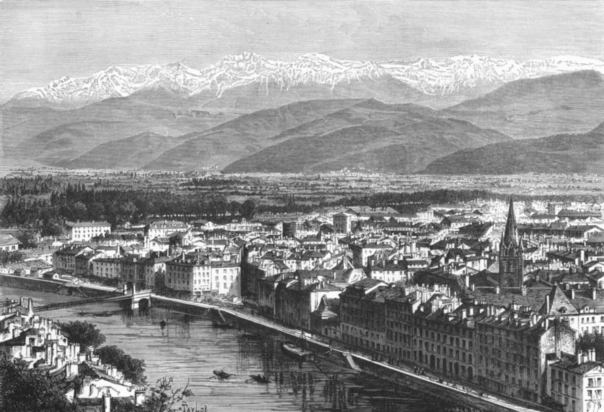 Associate Product FRANCE. Grenoble & Alps of Belledonne c1885 old antique vintage print picture