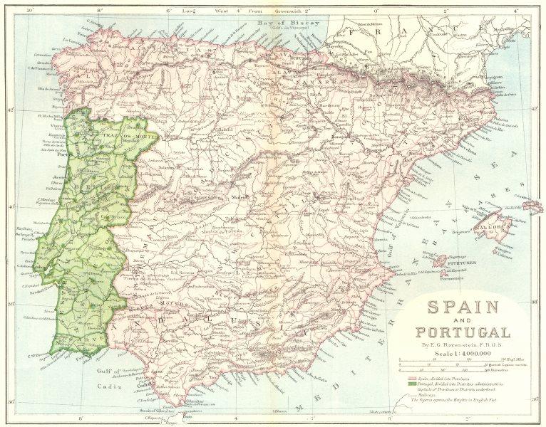 Associate Product SPAIN. & Portugal, E Ravenstein c1885 old antique vintage map plan chart