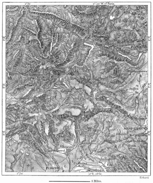 Associate Product FRANCE. Puy de Carlitte, sketch map c1885 old antique vintage plan chart