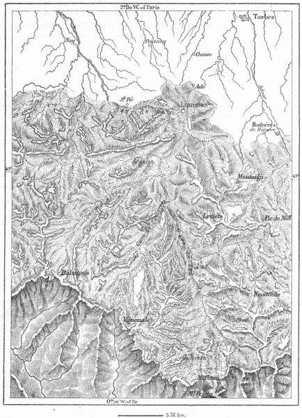 Associate Product FRANCE. old Glacier Argeles Collomb, sketch map c1885 antique chart