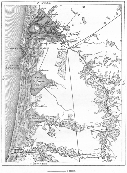 Associate Product FRANCE. Dunes & Landes, Pays born, sketch map c1885 old antique plan chart