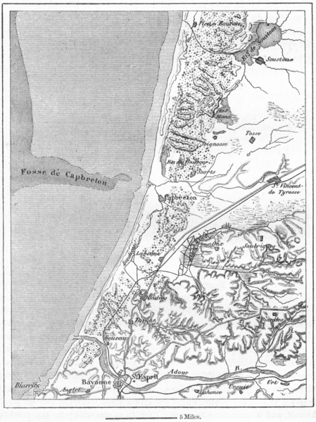 Associate Product FRANCE. Adour, sketch map c1885 old antique vintage plan chart