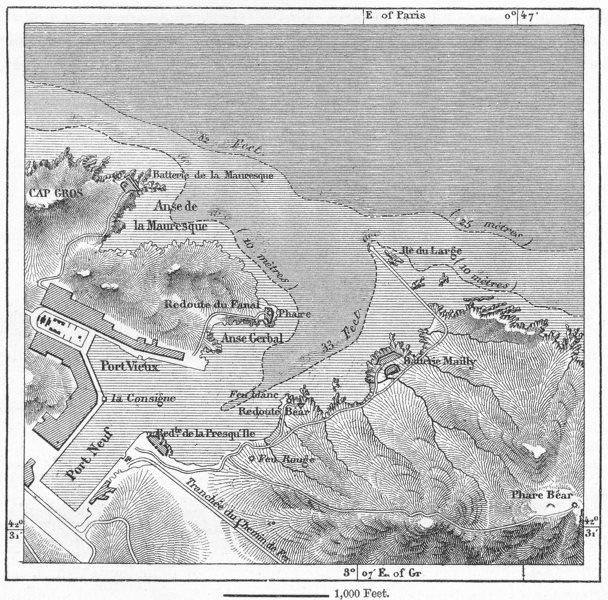 FRANCE. Port-Vendres, sketch map c1885 old antique vintage plan chart