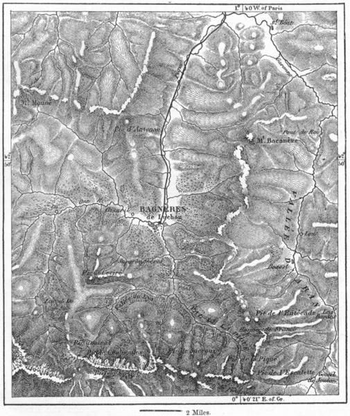 Associate Product FRANCE. Bagneres-de-Luchon, sketch map c1885 old antique plan chart
