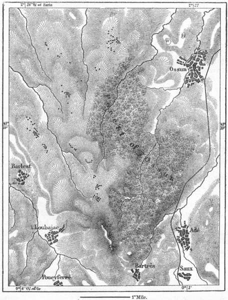 Associate Product OSSUN. Tumuli Bourbier Letrone, sketch map c1885 old antique plan chart