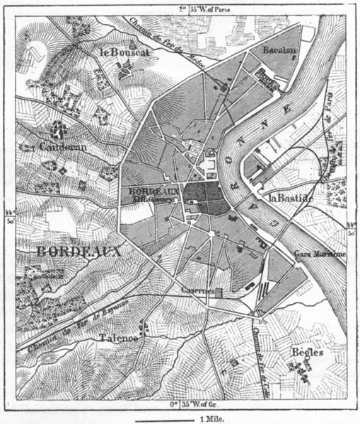 Associate Product FRANCE. Bordeaux, sketch map c1885 old antique vintage plan chart