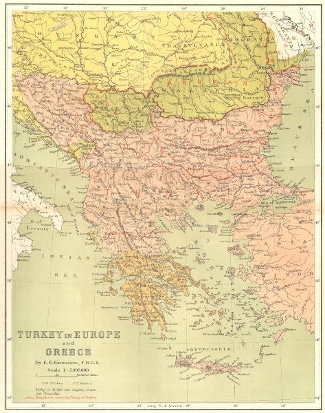 Associate Product GREECE. Turkey in Europe, E Ravenstein c1885 old antique map plan chart