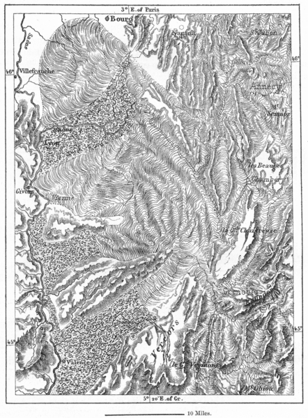 ISERE. Ancient Glaciers of Rhone &, sketch map c1885 old antique chart