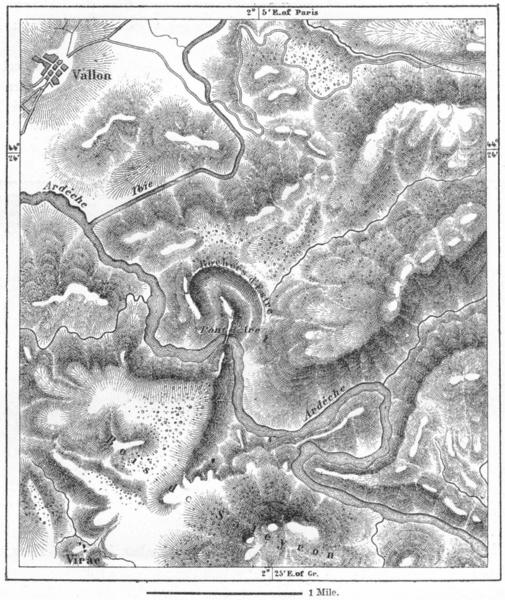 Associate Product FRANCE. Pont D'Arc(Ardeche)sketch map c1885 old antique vintage plan chart