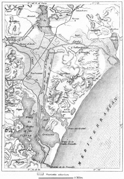 Associate Product FRANCE. Delta of Aude, sketch map c1885 old antique vintage plan chart