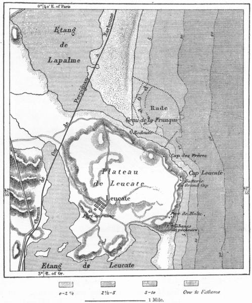 Associate Product FRANCE. Leucate Roadstead Franqui, sketch map c1885 old antique plan chart