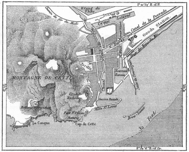 Associate Product FRANCE. Harbour of Cette, sketch map c1885 old antique vintage plan chart