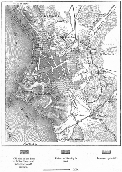 Associate Product FRANCE. Marseilles, sketch map c1885 old antique vintage plan chart