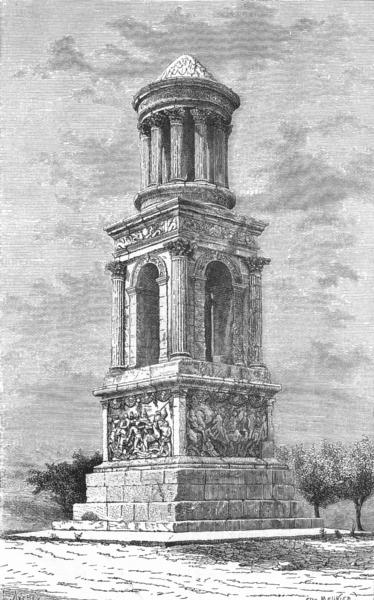 Associate Product FRANCE. Mausoleum at St Remy c1885 old antique vintage print picture