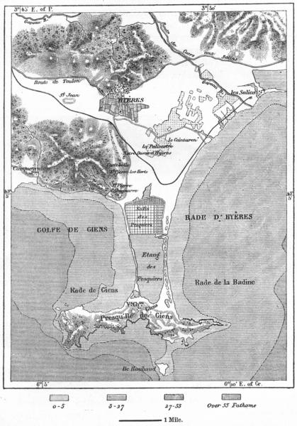 FRANCE. Hyeres, sketch map c1885 old antique vintage plan chart