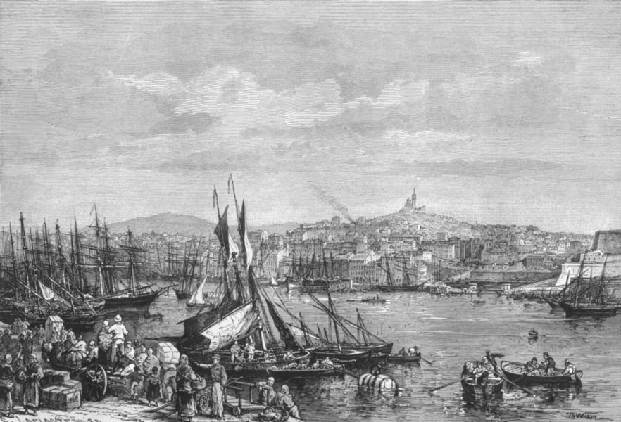 Associate Product MARSEILLES. port & Notre-Dame de La Garde c1885 old antique print picture