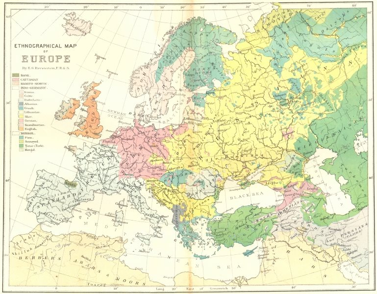 EUROPE. Ethnographical, E Ravenstein c1885 old antique vintage map plan chart