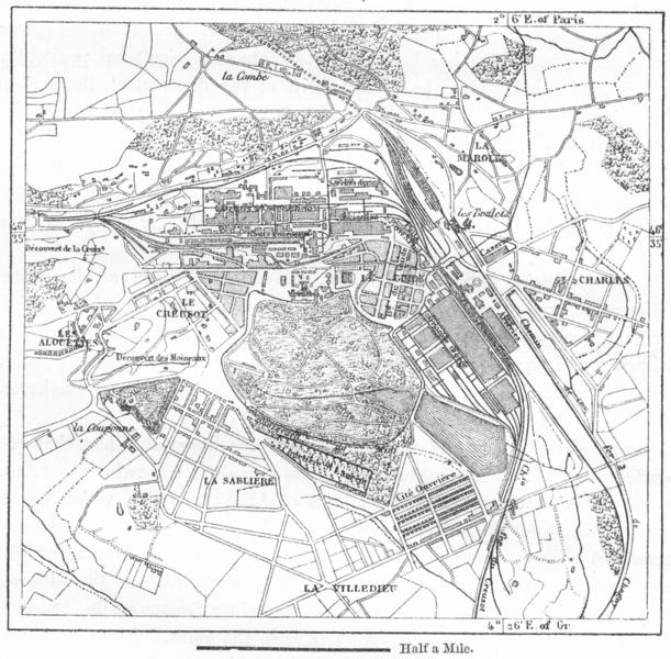 Associate Product FRANCE. Le Creusot, sketch map c1885 old antique vintage plan chart