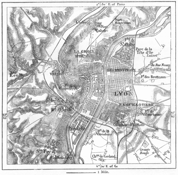 Associate Product FRANCE. Lyon, sketch map c1885 old antique vintage plan chart