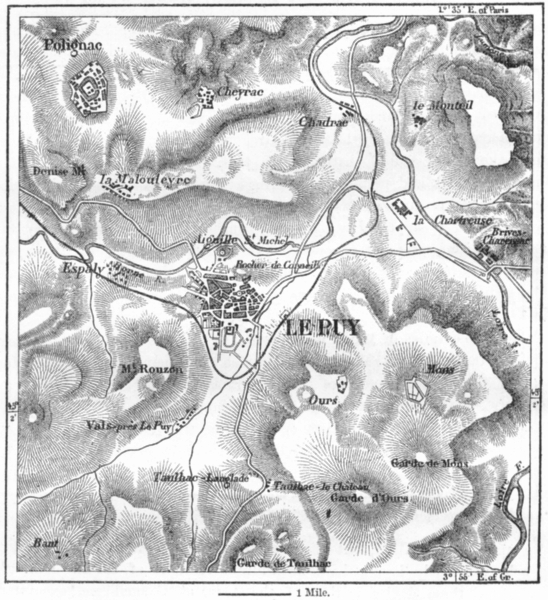 Associate Product FRANCE. Le Puy, sketch map c1885 old antique vintage plan chart