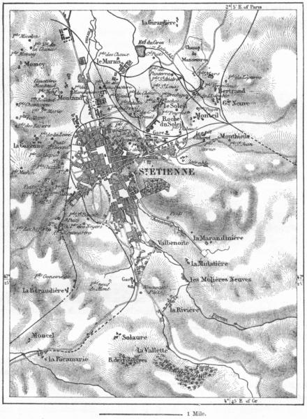 Associate Product FRANCE. St Etienne, sketch map c1885 old antique vintage plan chart