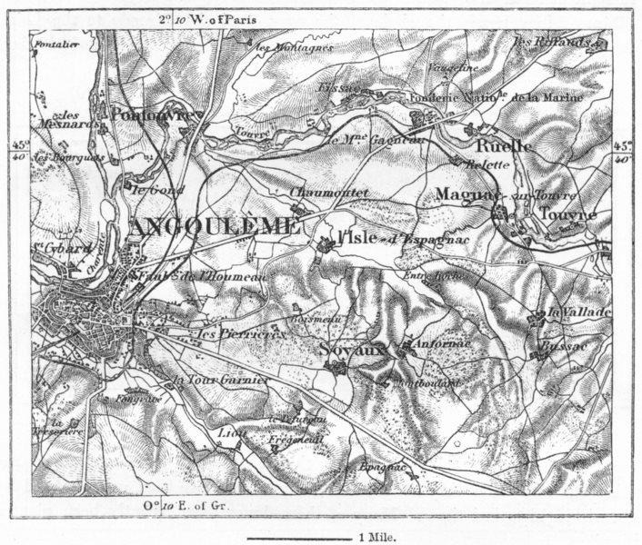 Associate Product FRANCE. Angouleme, sketch map c1885 old antique vintage plan chart