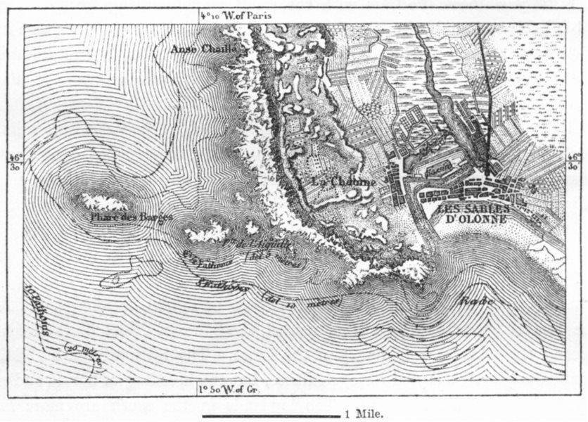 Associate Product FRANCE. Sables-D' Olonne, sketch map c1885 old antique vintage plan chart