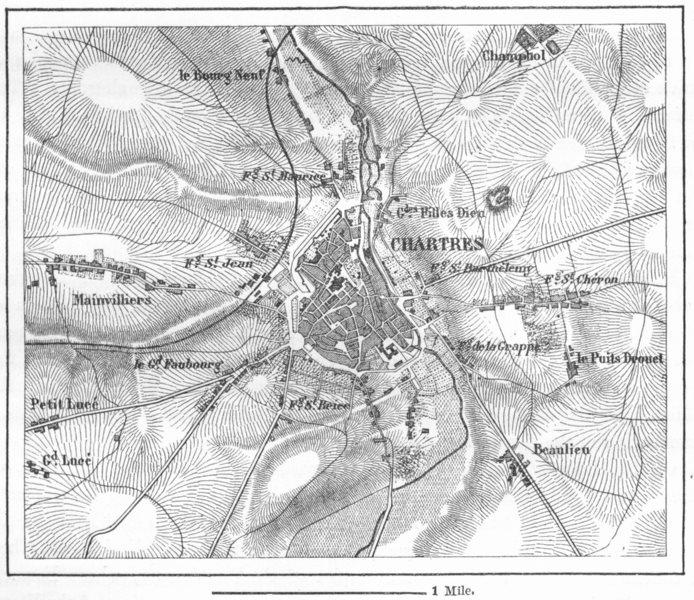 Associate Product FRANCE. Chartres, sketch map c1885 old antique vintage plan