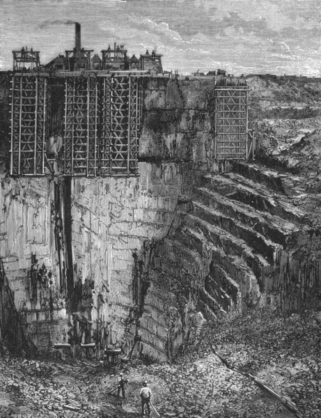 Associate Product FRANCE. Slate Quarries Angers c1885 old antique vintage print picture