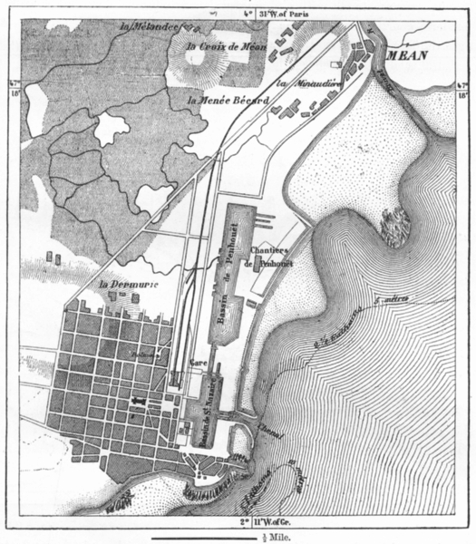 Associate Product FRANCE. St Nazaire, sketch map c1885 old antique vintage plan chart