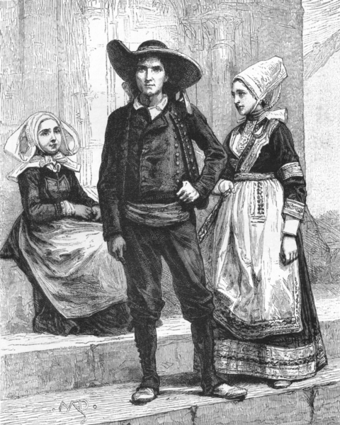 Associate Product FRANCE. Breton Peasants c1885 old antique vintage print picture