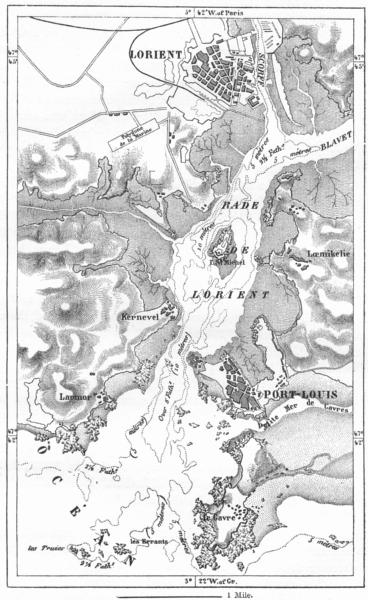 Associate Product FRANCE. Lorient & port-Louis, sketch map c1885 old antique plan chart