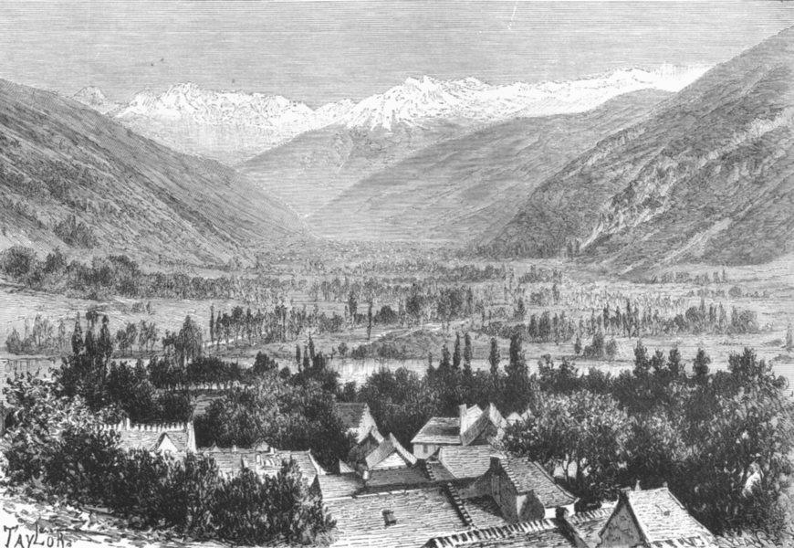 Associate Product HAUTE-GARONNE. Panorama of Cier & Valley Luchon c1885 old antique print
