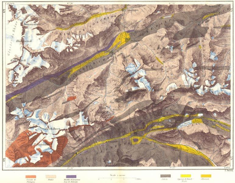 SWITZERLAND. Mount St Gothard c1885 old antique vintage map plan chart