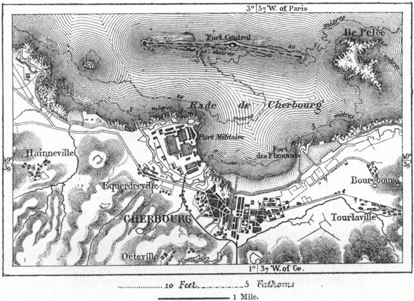 Associate Product FRANCE. Cherbourg, sketch map c1885 old antique vintage plan chart