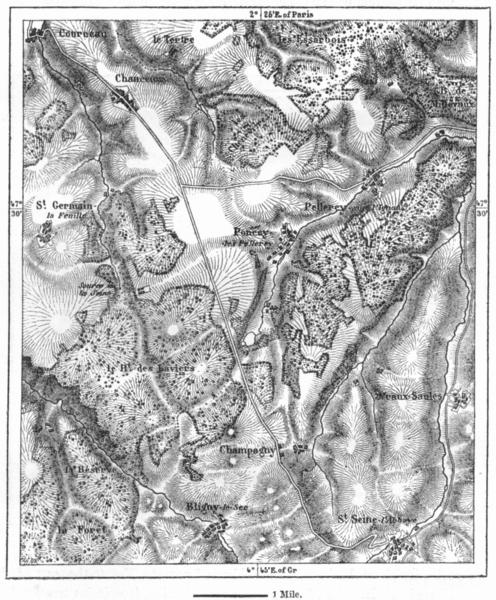 Associate Product FRANCE. Source of Seine, sketch map c1885 old antique vintage plan chart