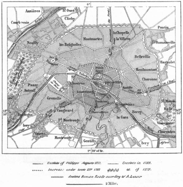 Associate Product FRANCE. Growth of Paris, sketch map c1885 old antique vintage plan chart
